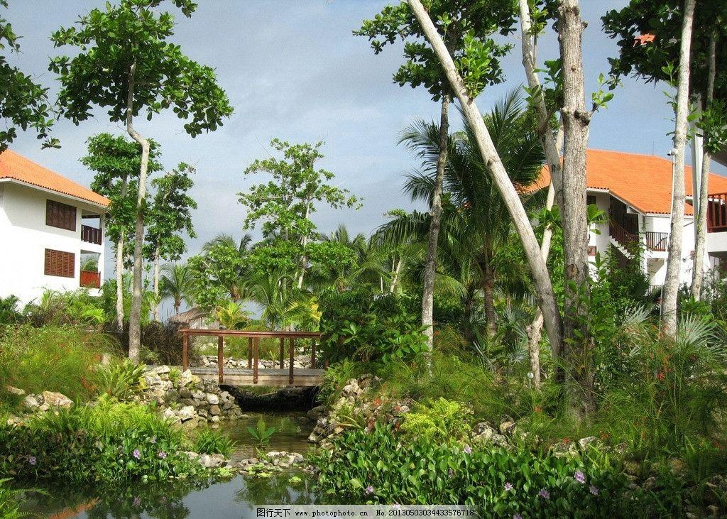 海边度假村一角 自然风景 海边风景 休闲 娱乐 房屋 小桥流水