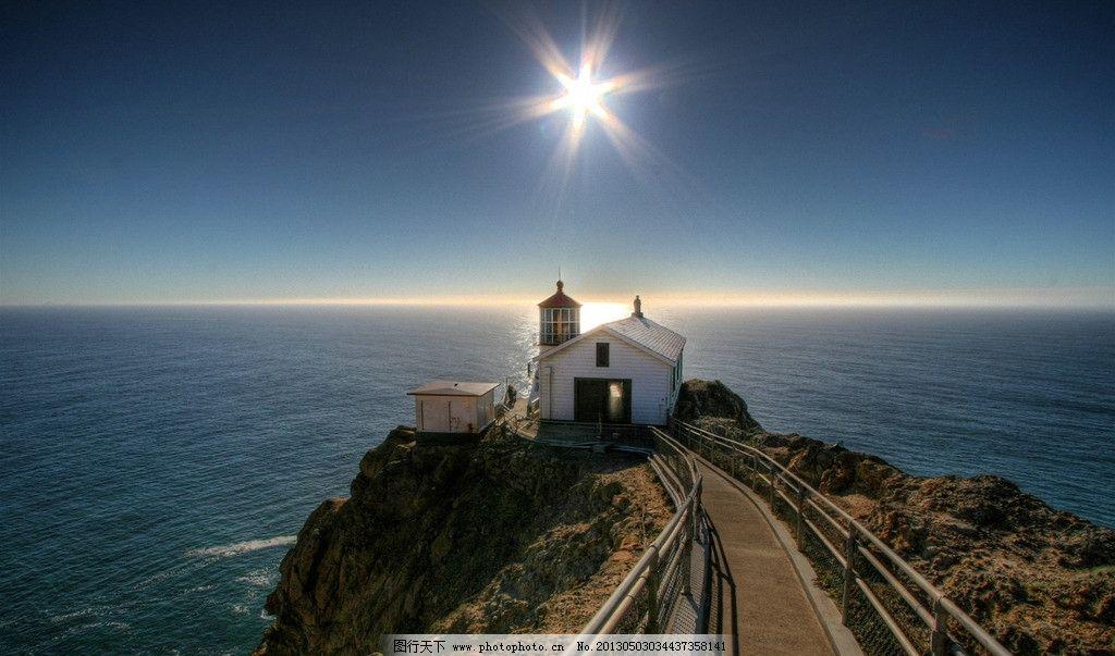 海边风景 自然风景 阳光 灯塔 小房子 大海 蓝天 山水风景 自然景观