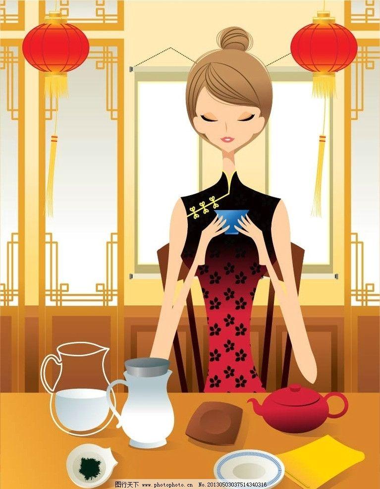 旗袍 旗袍美女 都市女性 手绘插画 时尚插画 友情 爱情 亲情 卡通设计
