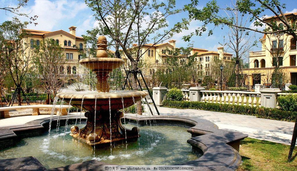 欧式水法 法式 奢华 庭院 地产 住宅 水法 水景 家 地中海 风情 园林图片