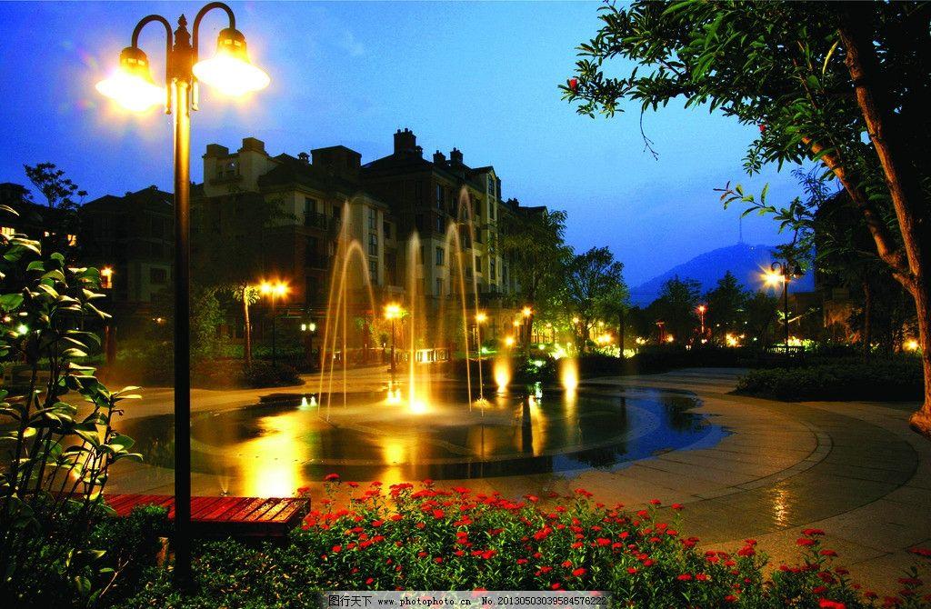 小区入口水景 住宅小区 水景喷泉 旱喷 夜景 花园 路灯 家 园林建筑