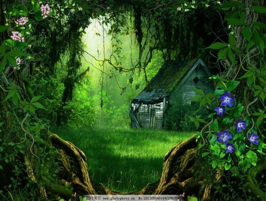 桌面 装饰 无框画 背景手绘 渲染 森林 树林 绿色 牵牛花 风景漫画