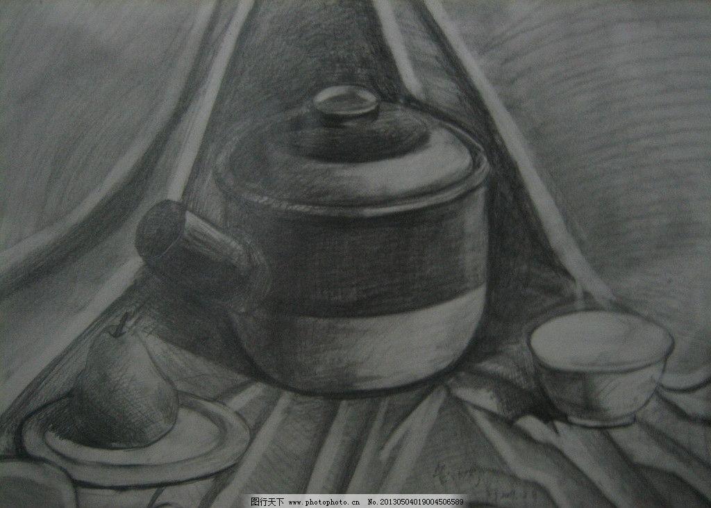 静物素描 素描 静物 罐子