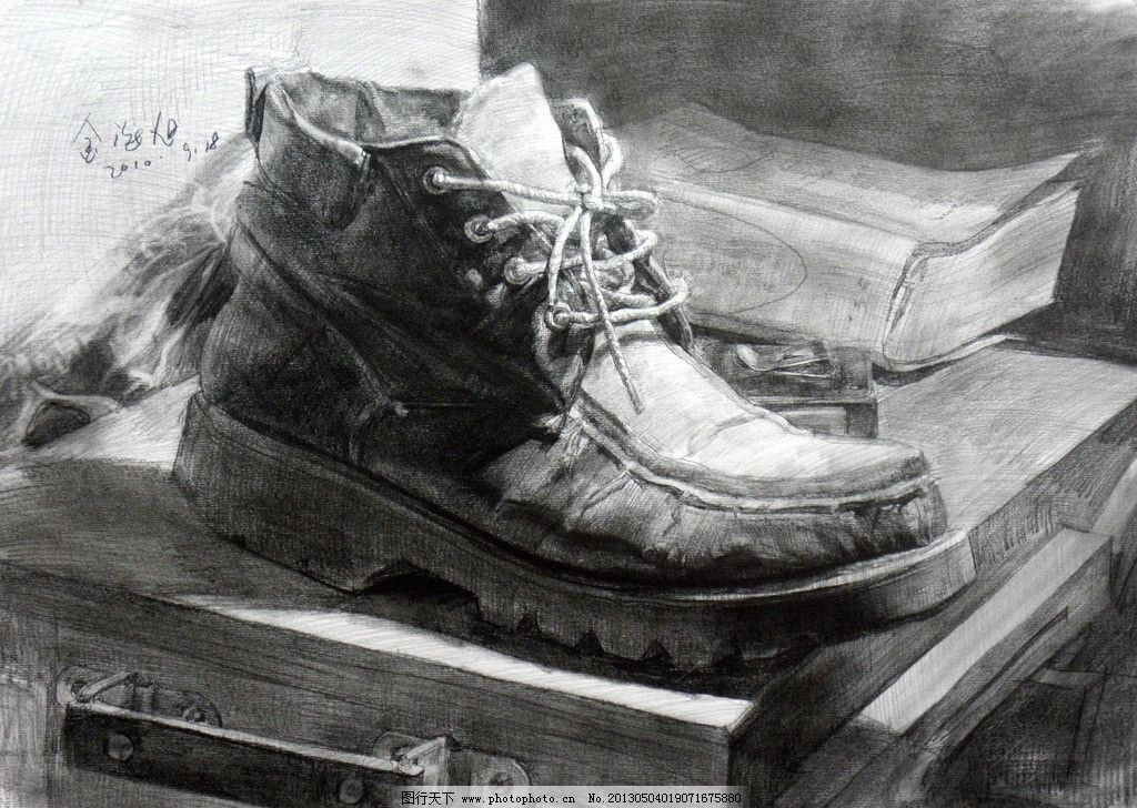 静物素描 素描 鞋子 桌子