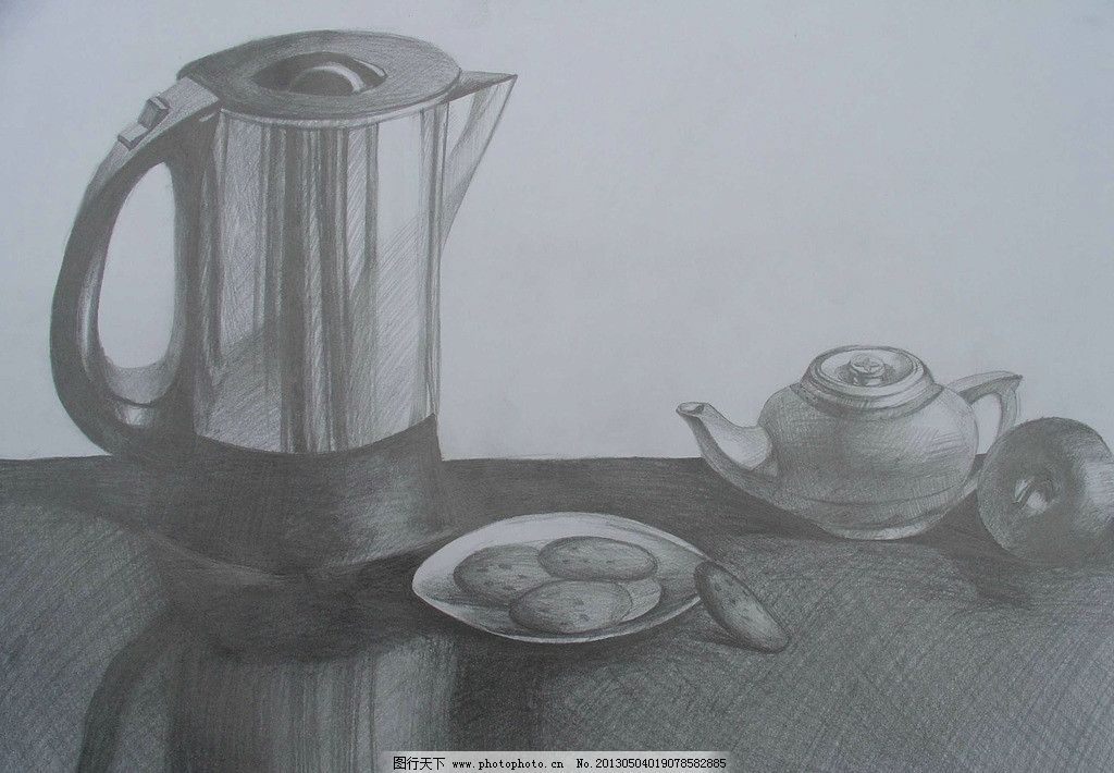 静物素描 素描 静物 罐子 水果 水壶 桌子 白碗 设计 美术 艺术 绘画