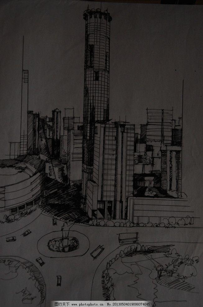 建筑手绘 室外 黑白 风景 钢笔