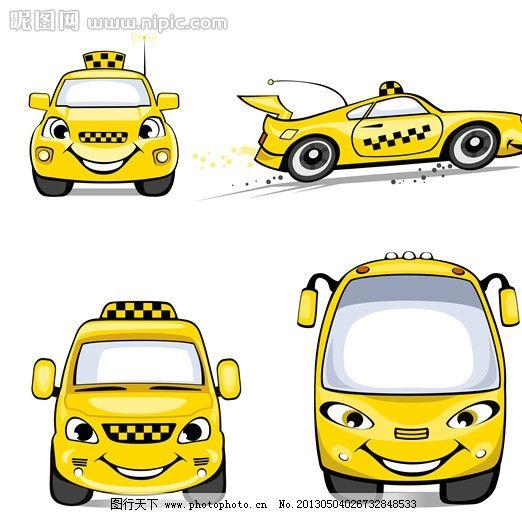 出租车 英国 可爱 卡通 矢量