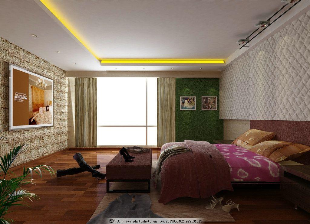 卧室效果图      原创        床 窗户 窗帘 室内设计 环境设计 设计