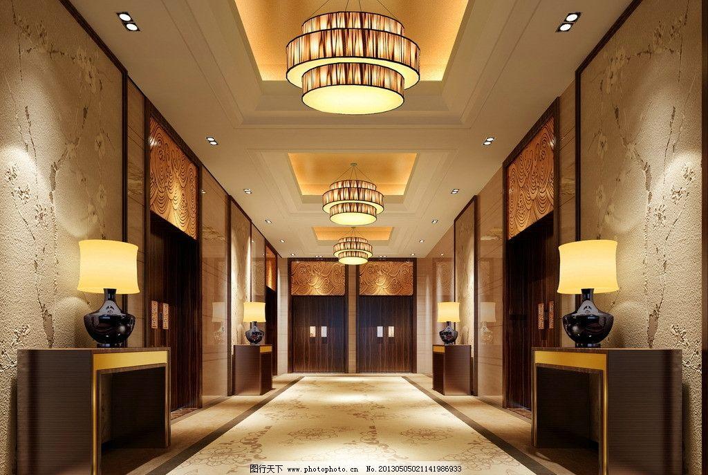 走廊 工装 酒店 中式 现代 柜子 吊灯 3d作品 3d设计 设计 150dpi jpg