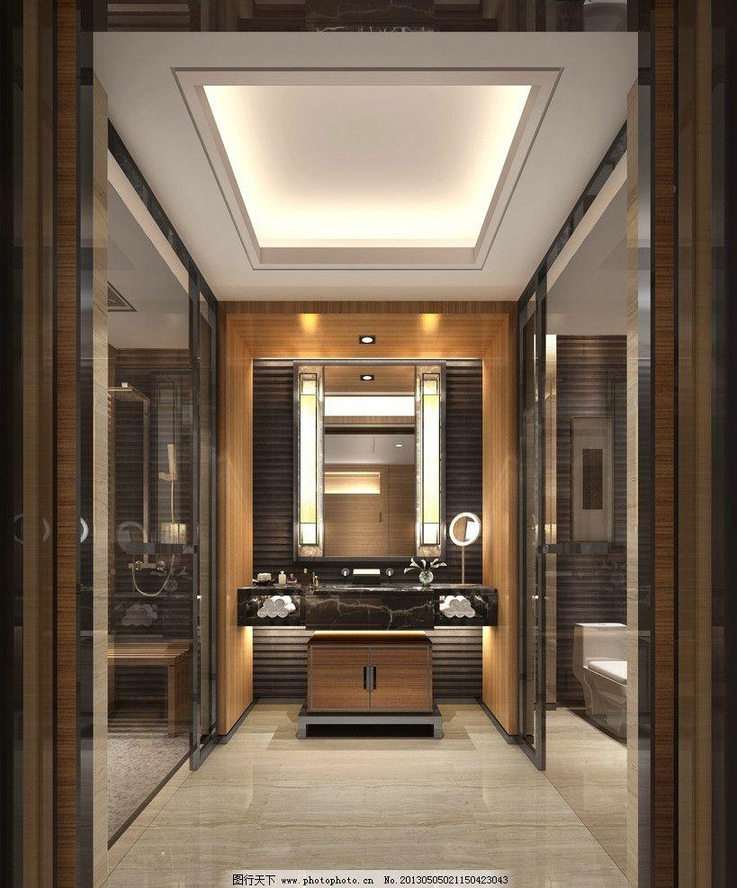 工装 酒店 餐厅 中式 现代 洗手台 3d作品 3d设计 设计 72dpi