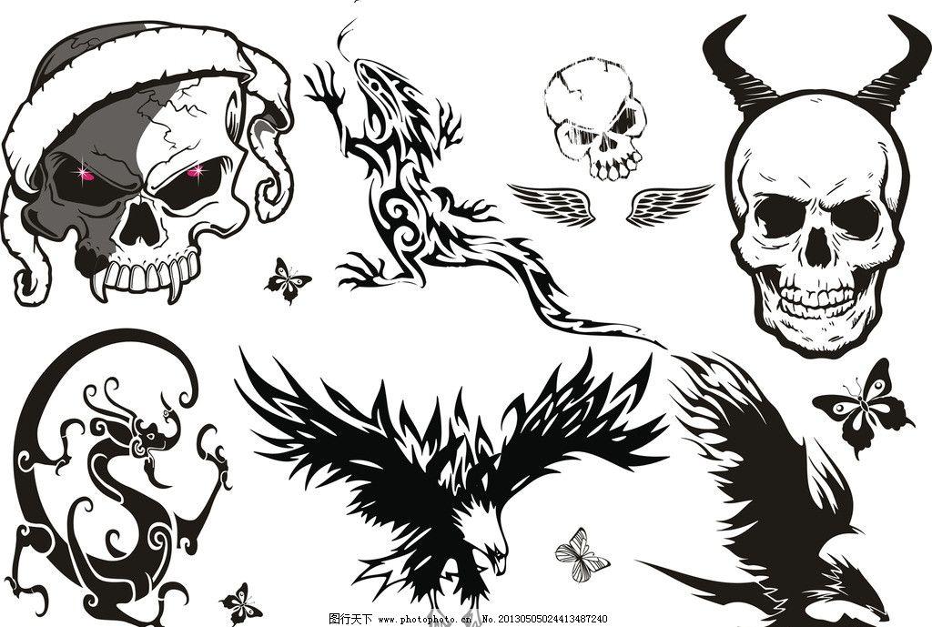纹身 纹身图案 动物 龙 蜥蜴 壁虎 骷髅头 雕 鹰 压印 蝴蝶 翅膀 花纹图片