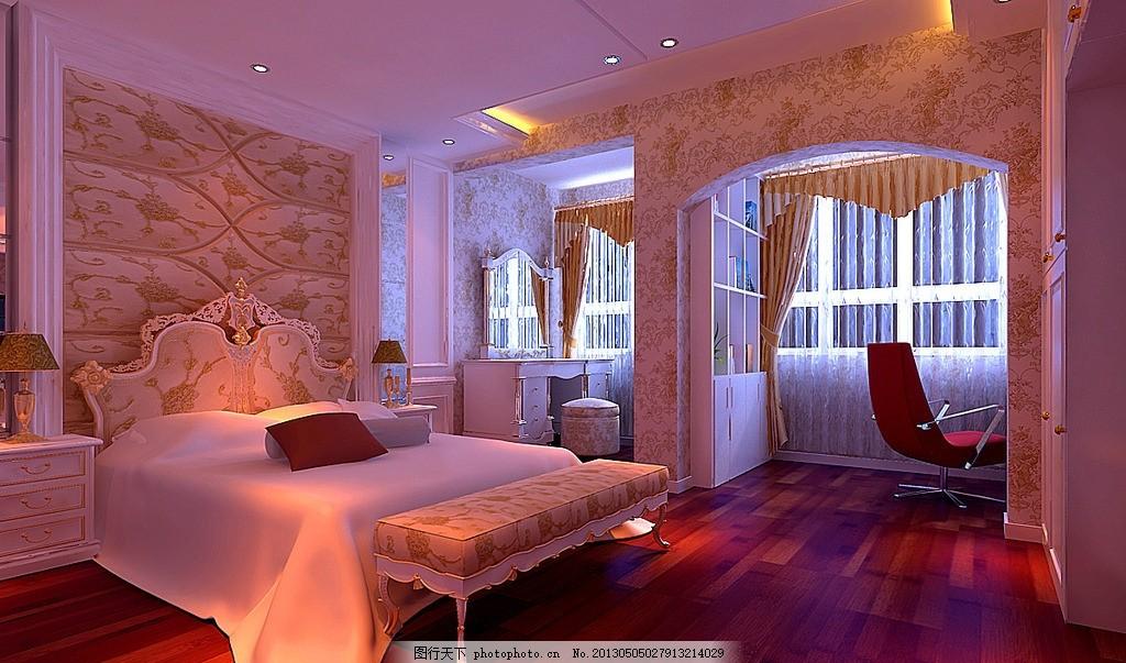 欧式效果图 壁纸 实木地板 书柜 窗帘 梳妆台