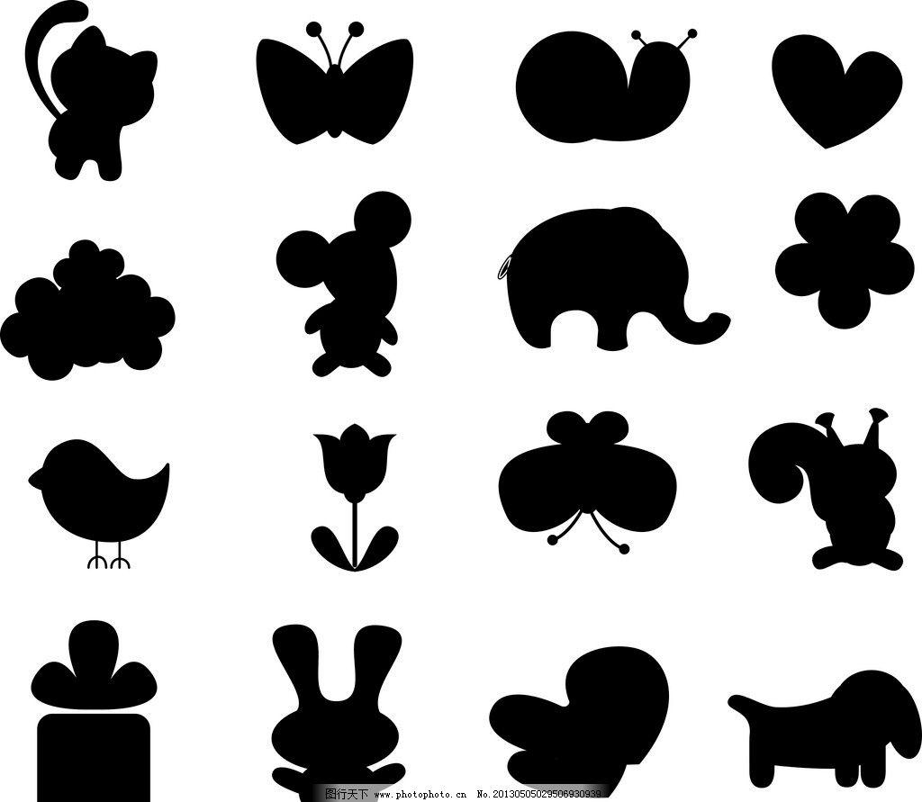 卡通动物剪影图片