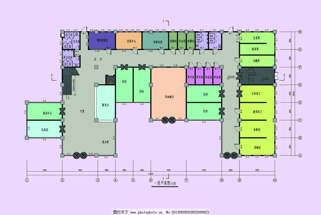 宾馆平面图 一层宾馆平面图 房地产广告 广告设计模板 源文件 200dpi