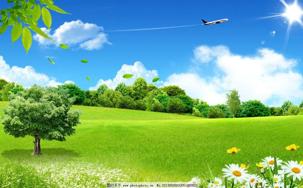 蓝天白云 蓝天 白云 绿地 树 和谐背景 草丛 花丛 树木 云朵 飞机