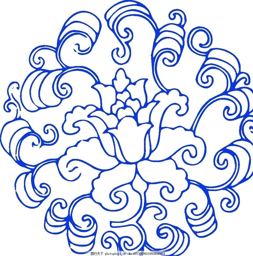 青花瓷图案 青花瓷纹样 青花瓷花纹 矢量花纹 古典花纹 瓷器 陶瓷花纹