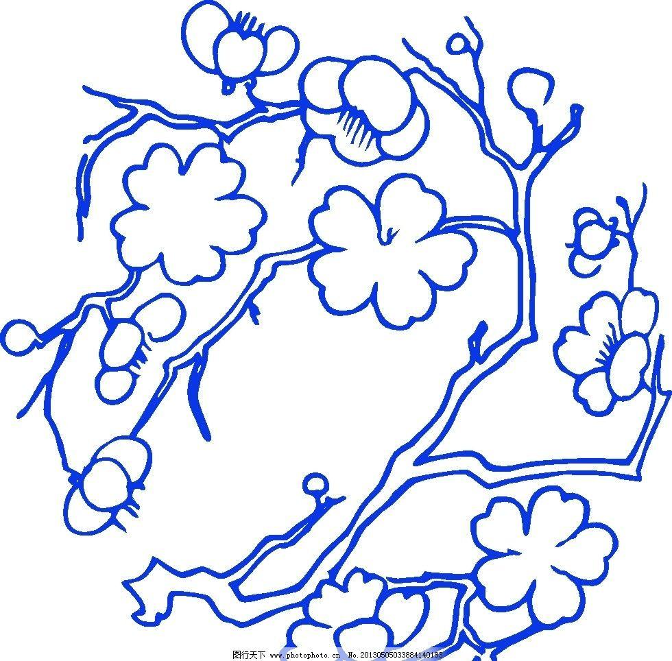 桃花 青花瓷图案