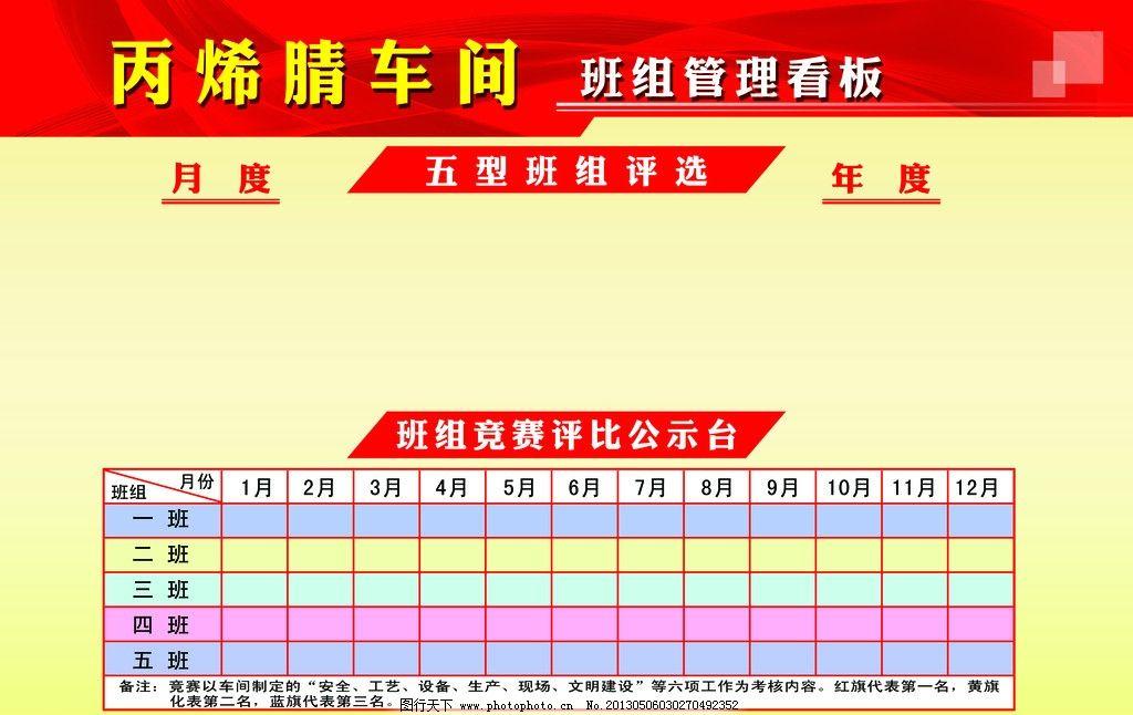 车间展板 管理 年度 月度 班组评选 评选公示板 展板模板 广告设计