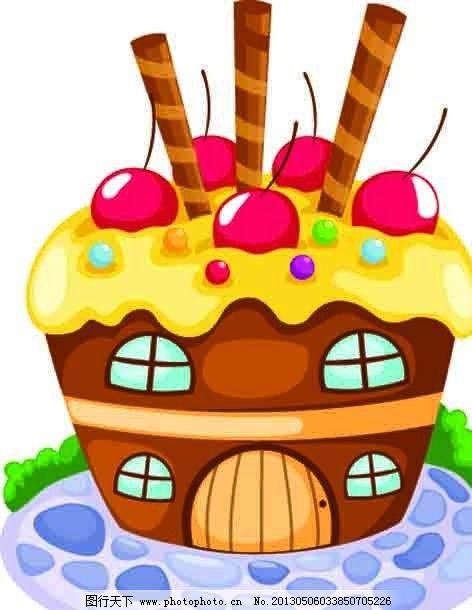 点心屋 点心 甜点 食物 甜品 房子 屋子 卡通 可爱 矢量素材 其他矢量
