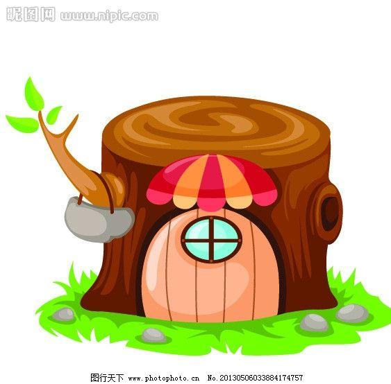 树木屋 卡通 可爱 屋子 房子 森林 矢量 矢量素材 其他矢量