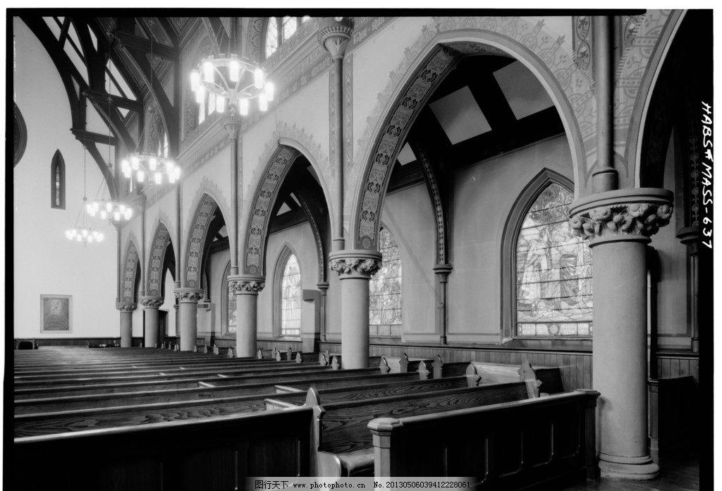 教堂 国外 建筑 宗教 建筑设计 摄影 基督教 欧式 欧式建筑 内部 黑白