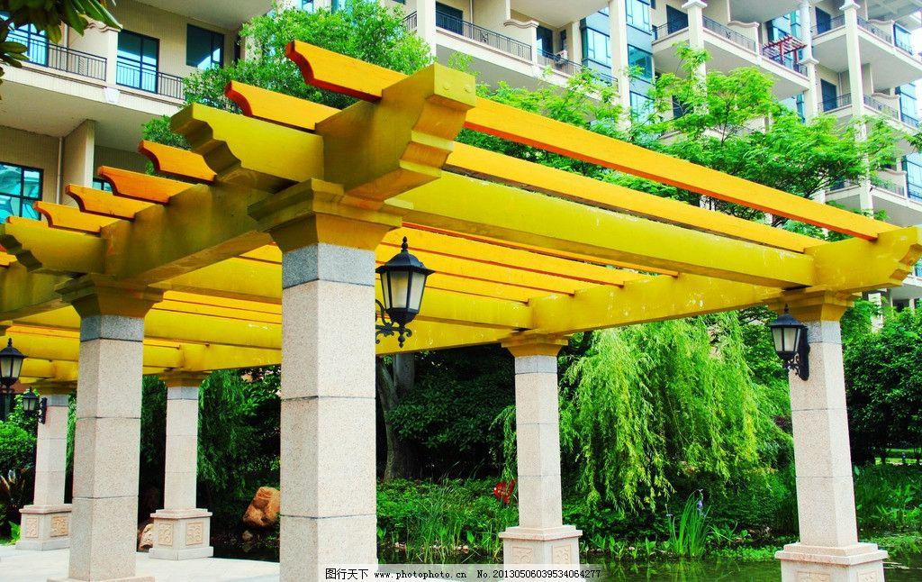 走廊 回廊 公园 花园 灯 廊灯 柱子 欧式园林 园林建筑 建筑园林