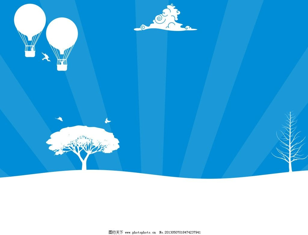 蓝色背景 蓝色 白色 热气球 树木 云朵 风景漫画 动漫动画 设计 100