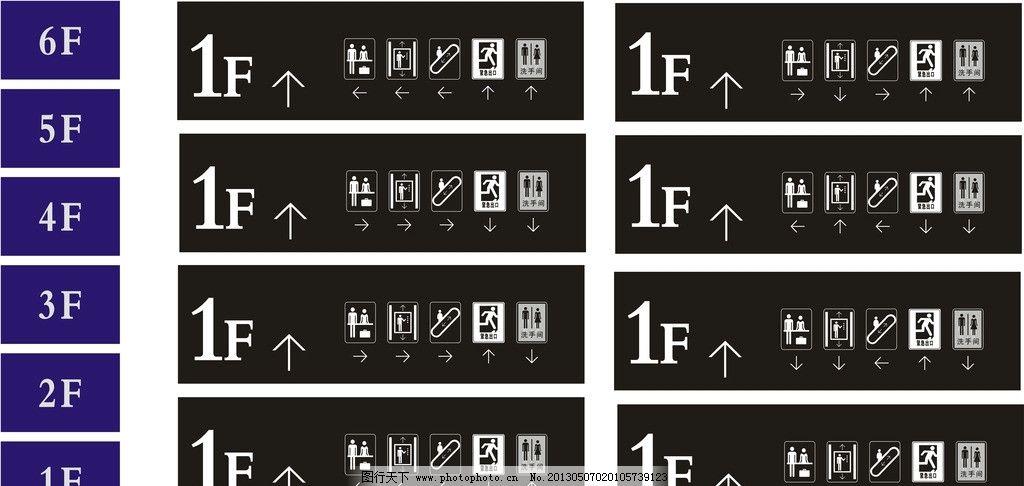 商场导视图 安全出口 电梯 收银台 方向 指示        楼层 其他 标识