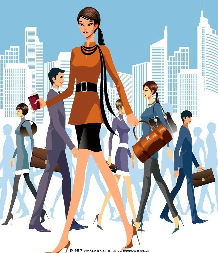 都市精英 城市白领 都市女性 手绘插画 时尚插画 友情 爱情 亲情 卡通