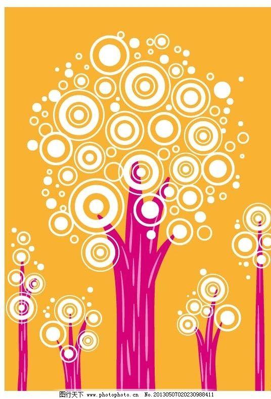 韩国可爱矢量底纹 可爱底纹 卡通 插画 小清新 树木 圆圈 点点