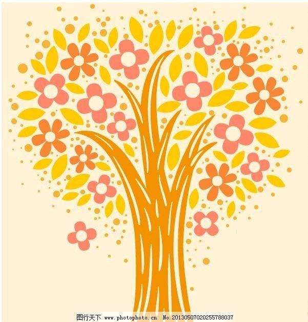 韩国可爱树木矢量底纹图片