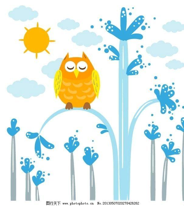 可爱底纹 卡通 插画 小清新 叶子 树木 猫头鹰 太阳 图案 展板 背景