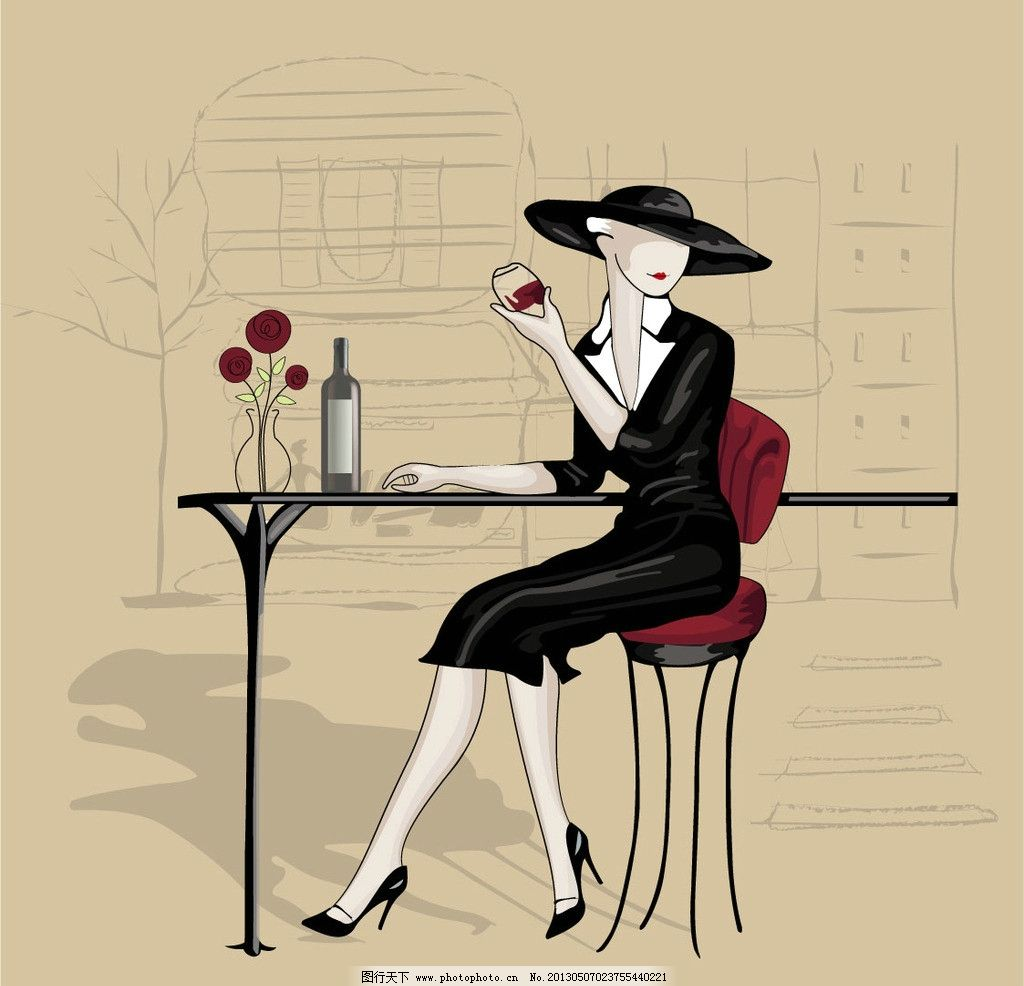 手绘美女 手绘 美女 少妇 酒 桌子 花 帽子 椅子 烫画 图案 萍子 线条