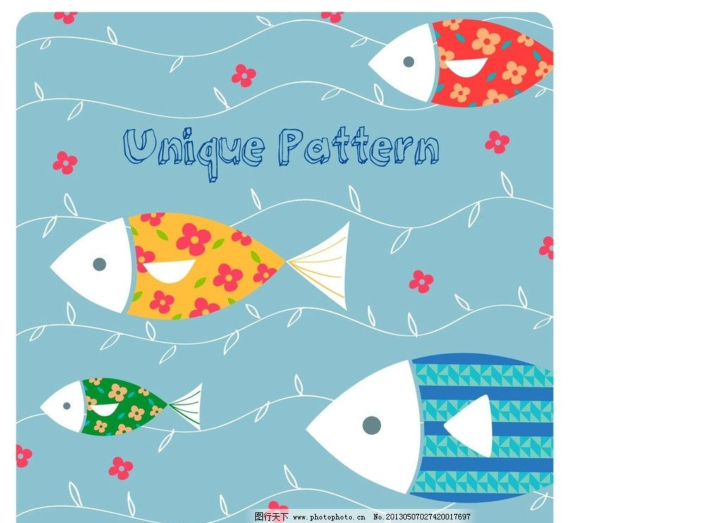 底纹 卡通 个性 酷 装饰图 插画 数字 创意 抽象 背景 设计 可爱 小鱼