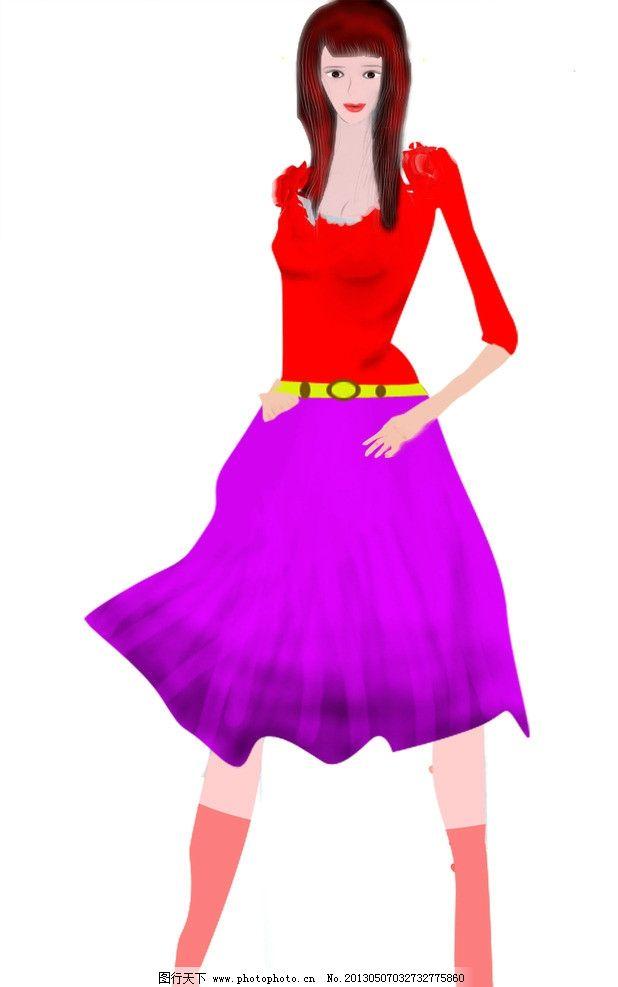 手绘1美女图片,美女紫色美女球迷裙子红色上衣黄色动画