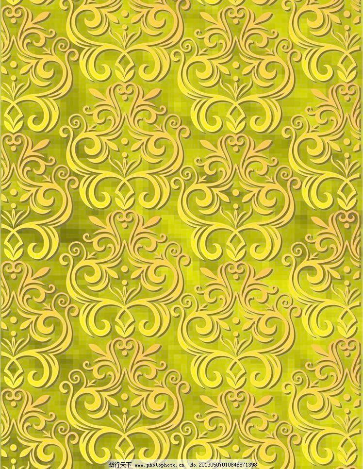 欧式底纹背景图案 底纹边框 对比 红黄渐变 花朵 花纹 连续 马赛克