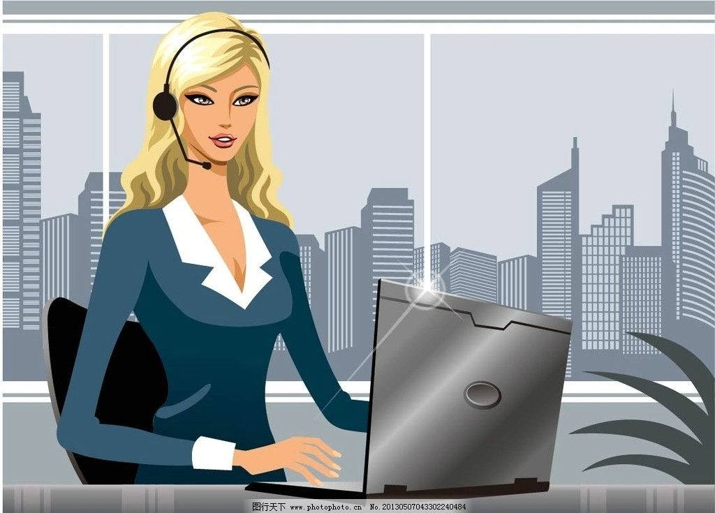 卡通人物插画 办公女郎 工作