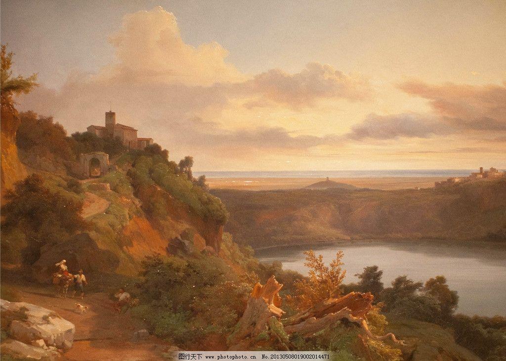 古典油画风景 黄昏 山 天空 白云 油画风景 古典油画 大师作品 欧式