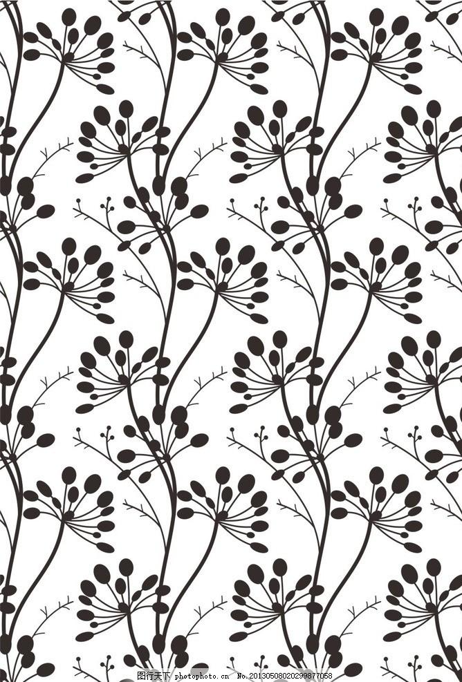 抽象发财树图案 财源滚滚 重复 连续 对比 黑白对比 花纹 丰硕 硕果