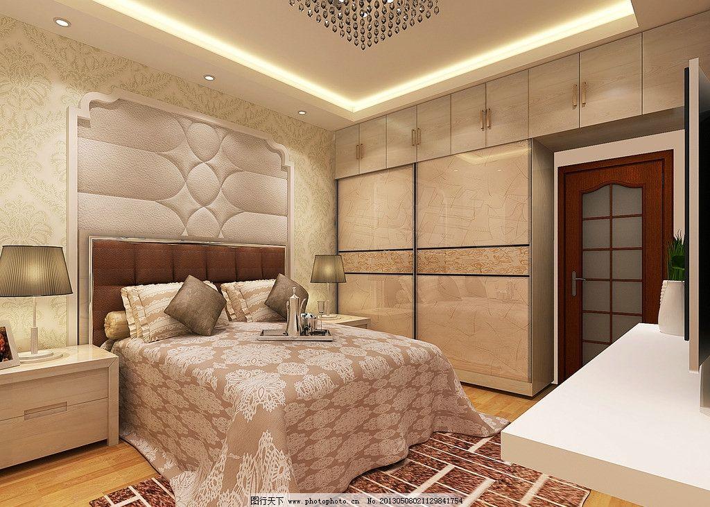 室内设计 主卧 卧室 床 欧式 软包 移门柜 地毯 电视图片