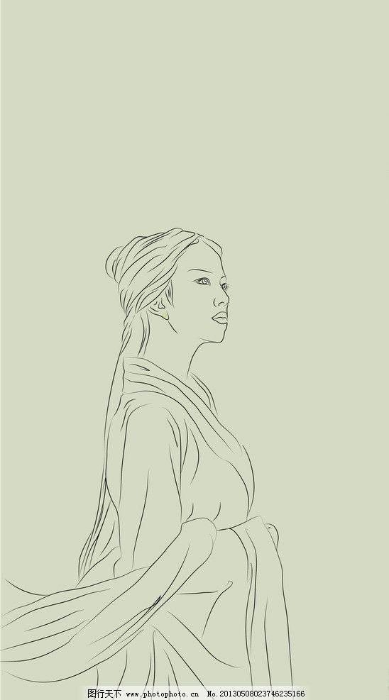 手绘古装美女线描图片