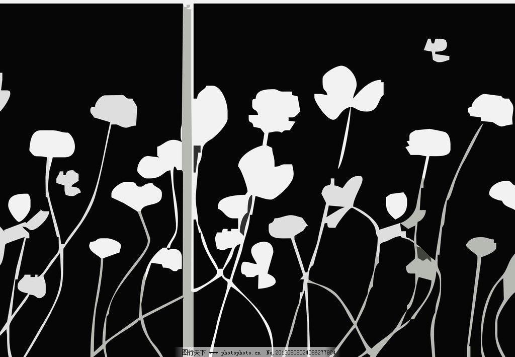 黑白装饰画矢量图 背景 自然风景