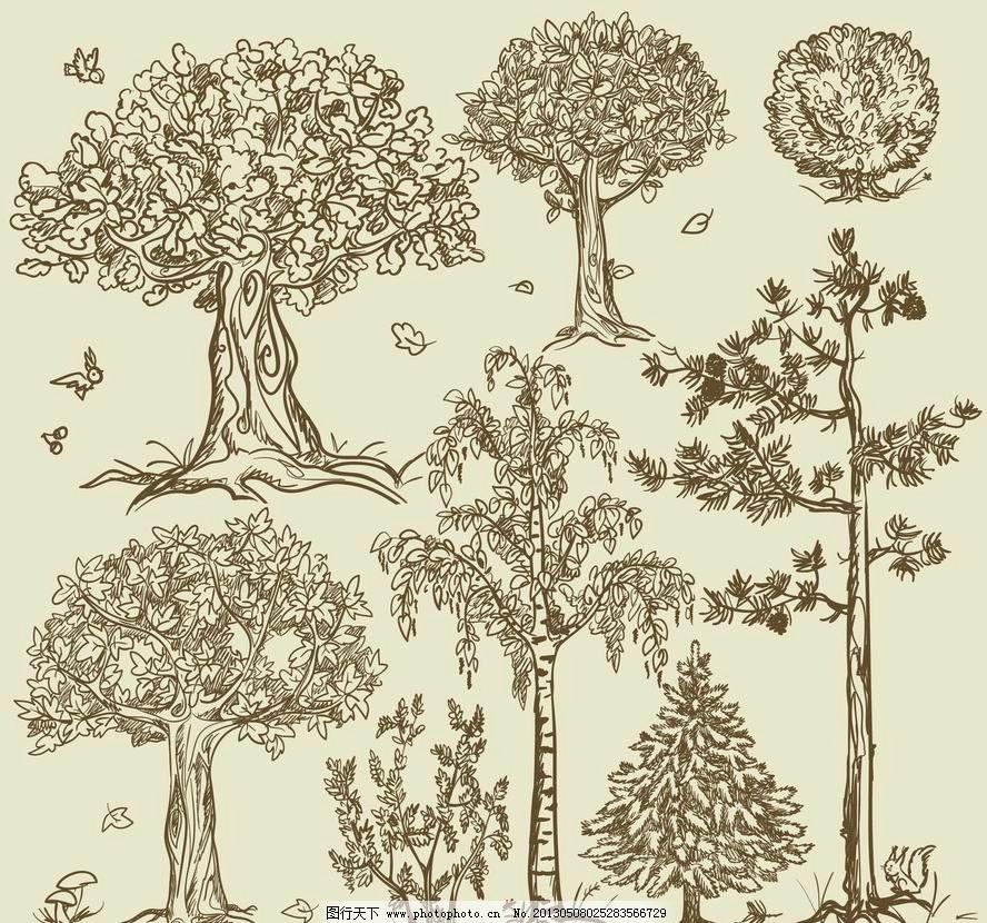 素描树木 素描 树木 圣诞树 铅笔画 茂盛 手绘 矢量 植物主题 树木
