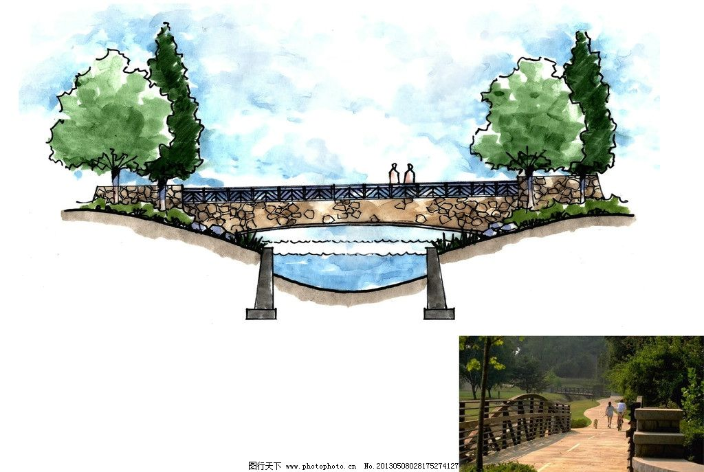 桥 设计图 手绘图 方案图        意向图 景观设计 环境设计 设计 30