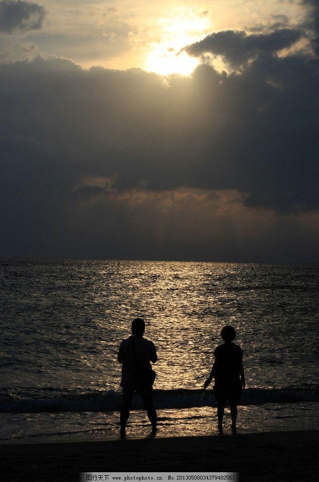 背影 情侶 剪影 海邊 陽光 一米陽光 旁晚 海水 日落 其他 旅游攝影