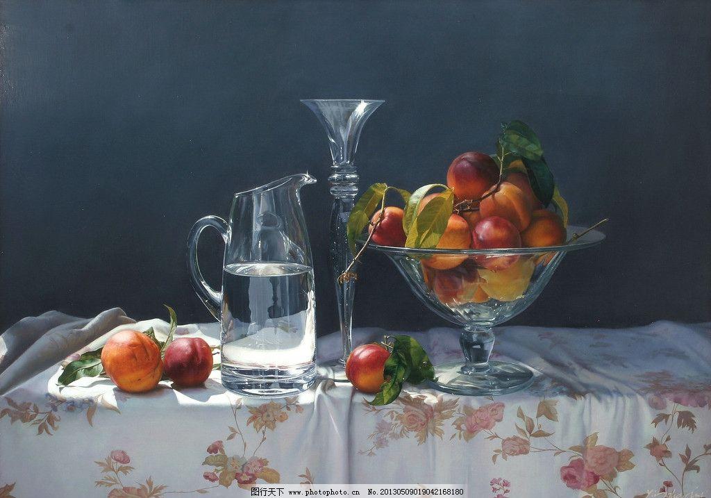 静物写实油画 玻璃杯 艺术 静物 装饰 高清 桃子 绘画书法 文化艺术
