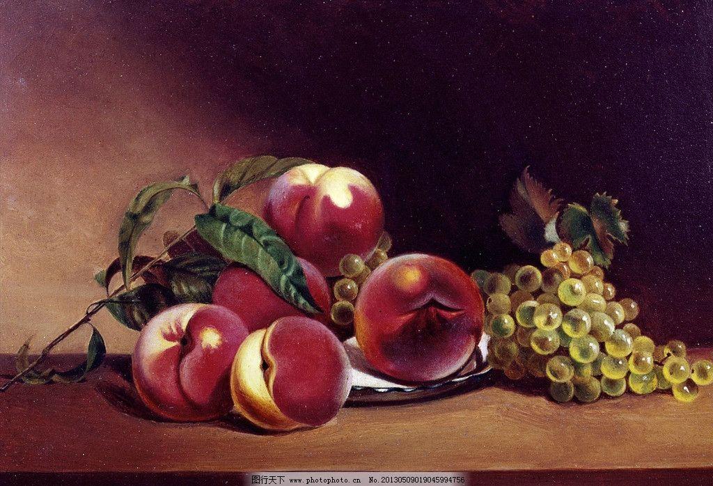 油画静物 艺术 室内 白天 食物 书桌 桌子 家具 葡萄 叶子 静物 油画