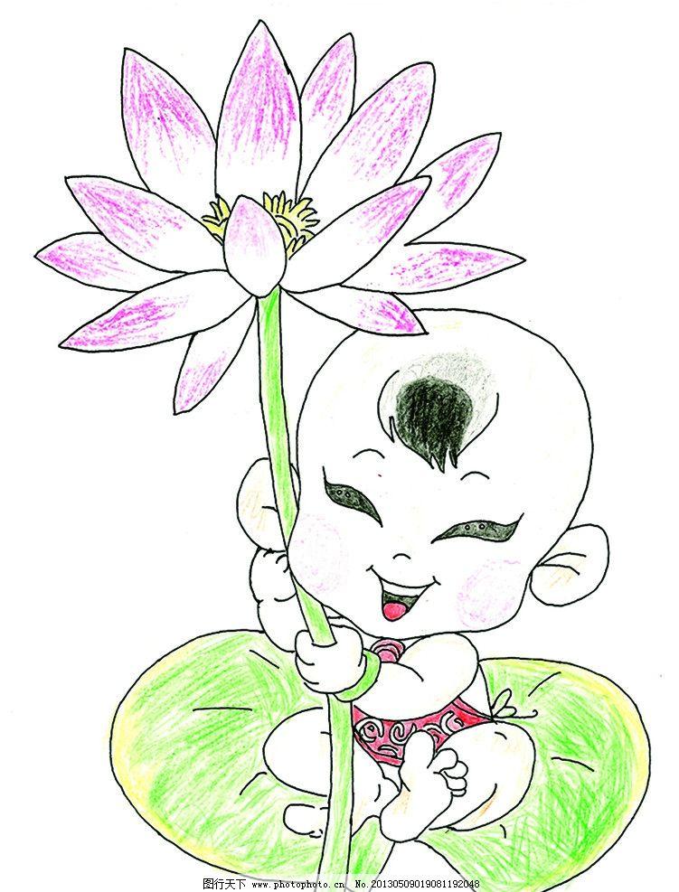 荷花仙童 儿童画 童趣 荷花 仙子 卡通 动漫 绘画书法 文化艺术 设计