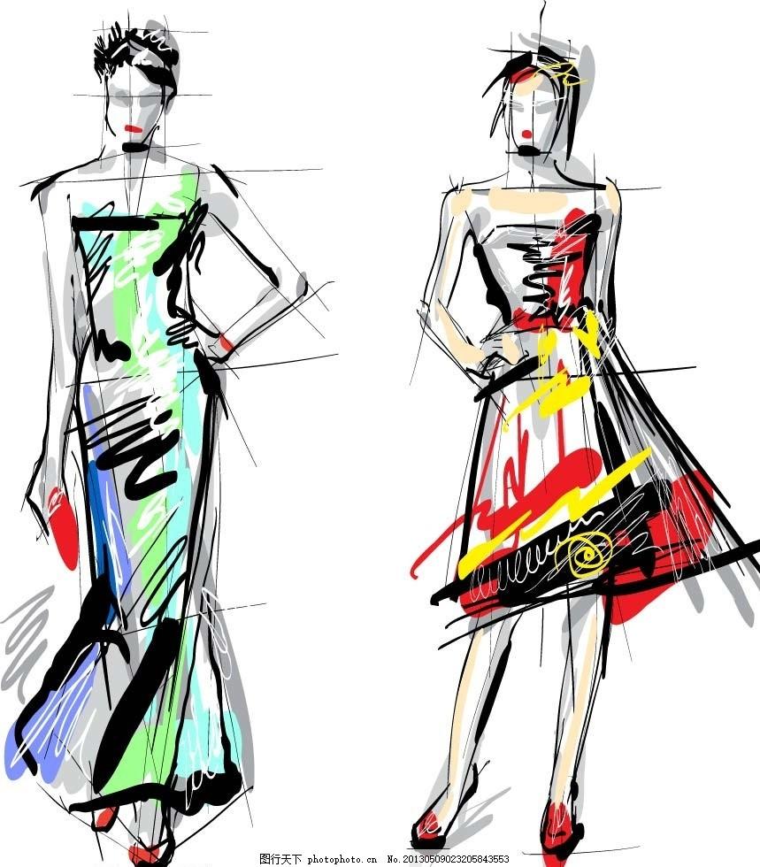 模特 服装 设计稿 艺术 草图 设计图 时装模特 靓丽时装 服装海报