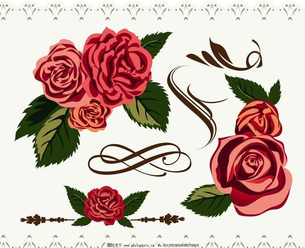玫瑰花 鲜花 花 花纹 花叶手绘 装饰 印刷 底纹 花边 边框 复古 平面
